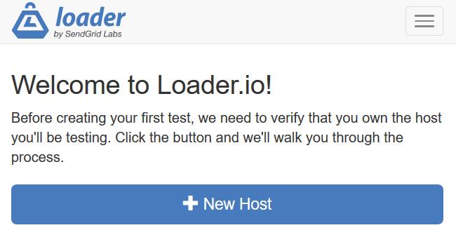Aggiunta di un nuovo host su Loader.io