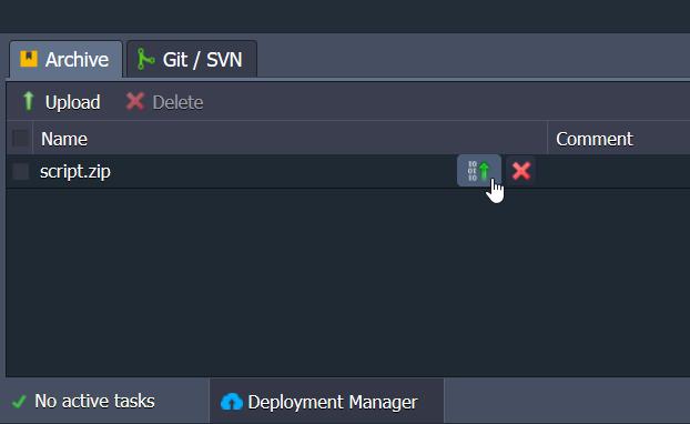 Deployment del pacchetto script.zip