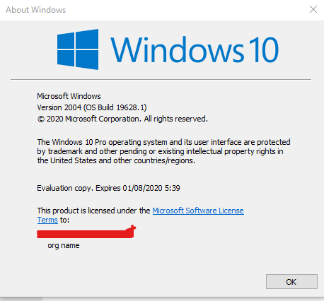 Winver Windows 10 build 19628