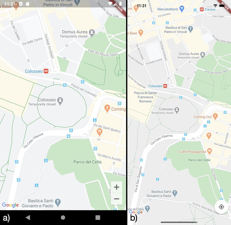 Visualizzazione delle mappe di Google su a) Android b) iOS