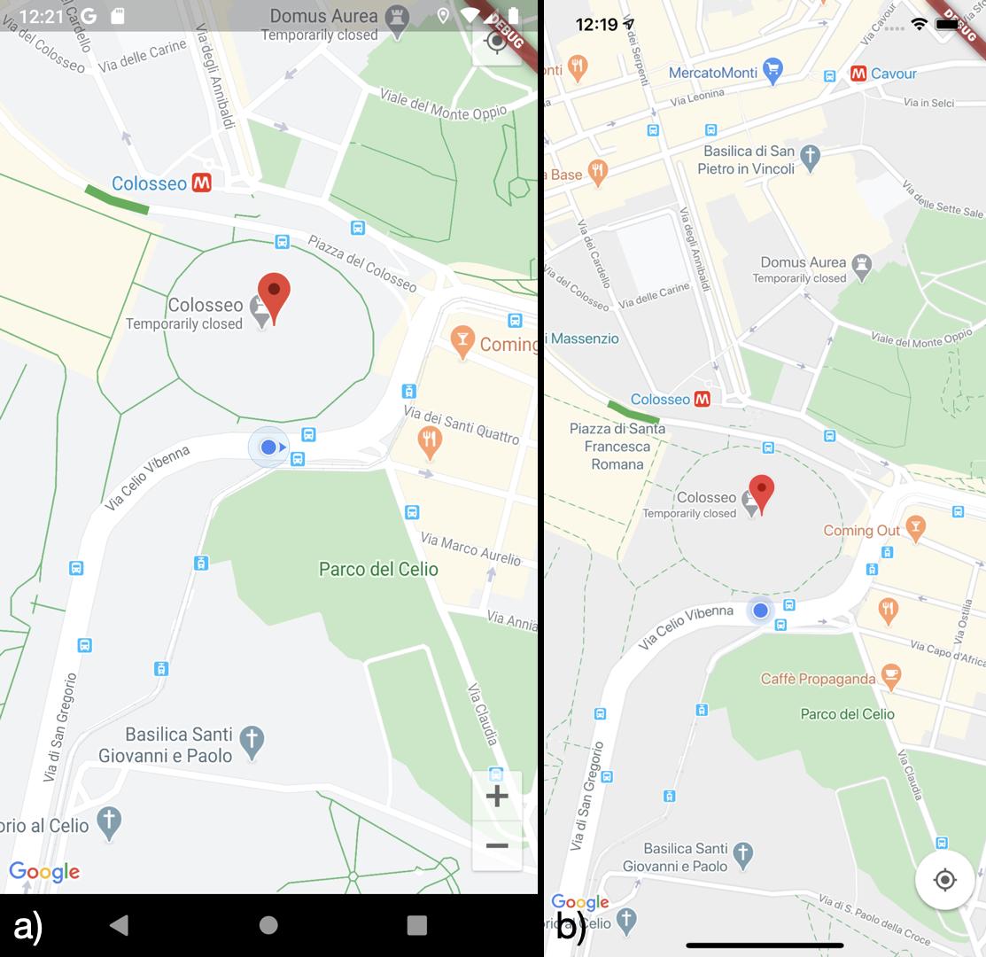 Visualizzazione della posizione corrente dell'utente su a) Android b) iOS