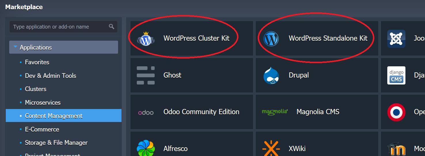 Le due opzioni del Marketplace di Jelastic per installare WordPress