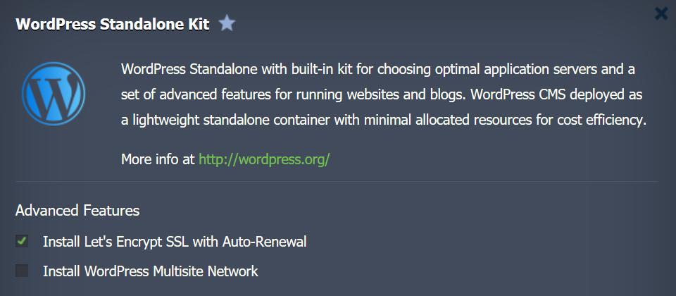 Installazione del WordPress Standalone Kit su Jelastic