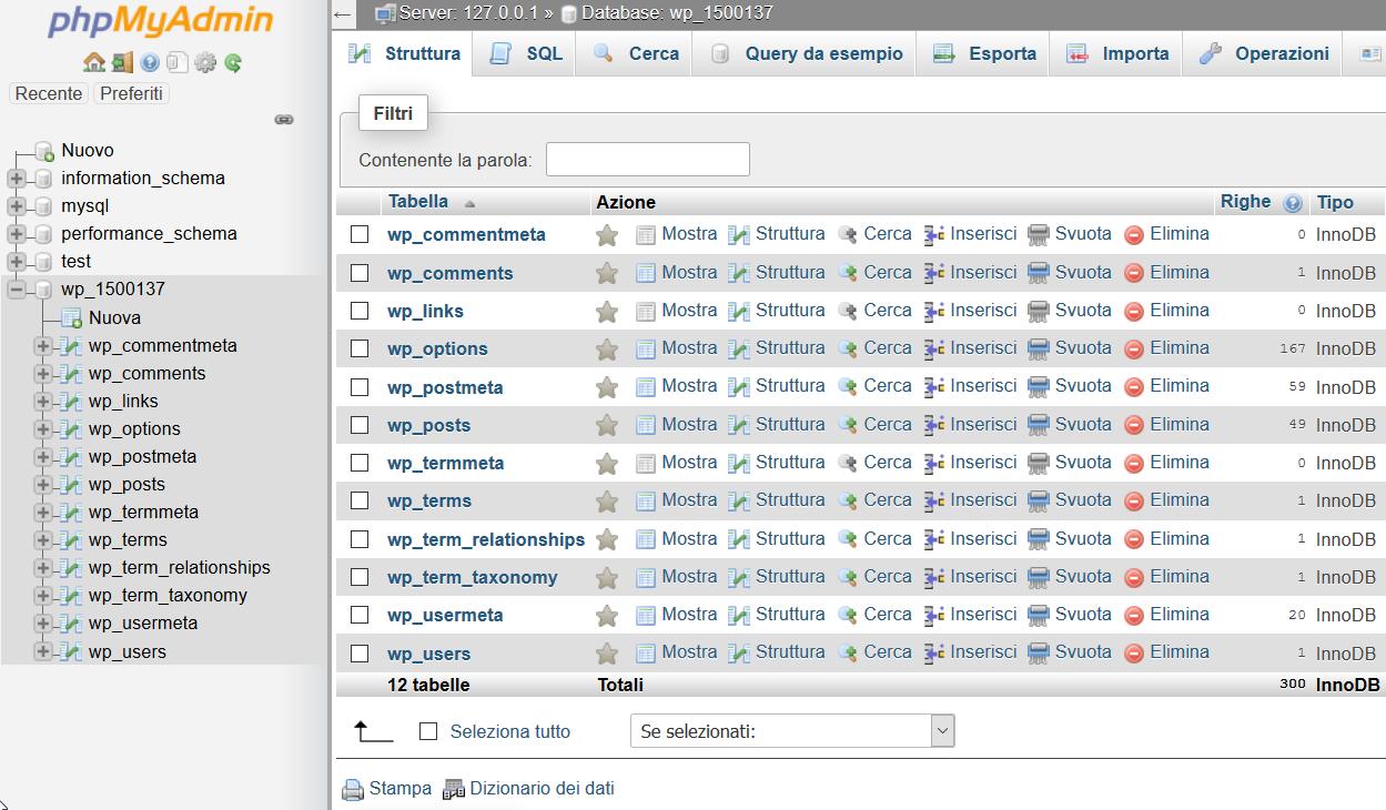 Interfaccia di phpMyAdmin
