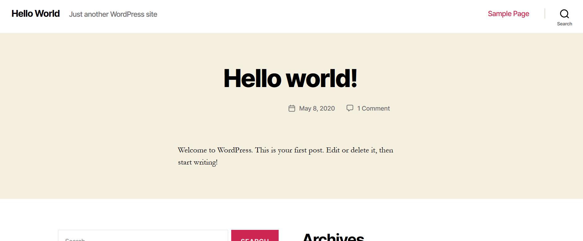 Primo avvio di WordPress