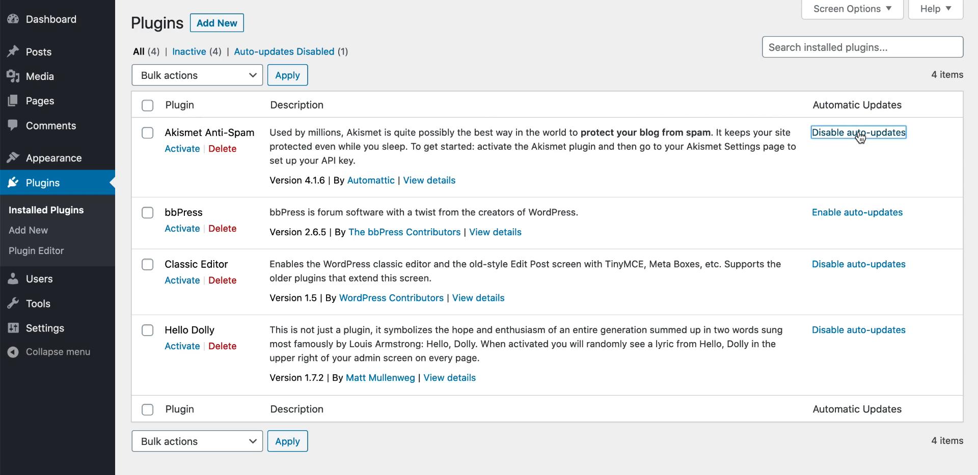 Gestione degli aggiornamenti automatici su WordPress 5.5