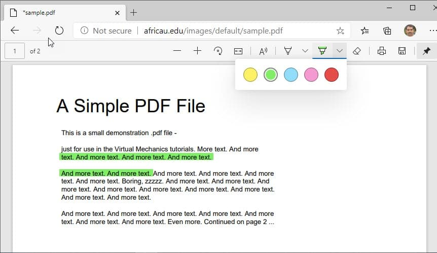PDF highlighter su Microsoft Edge