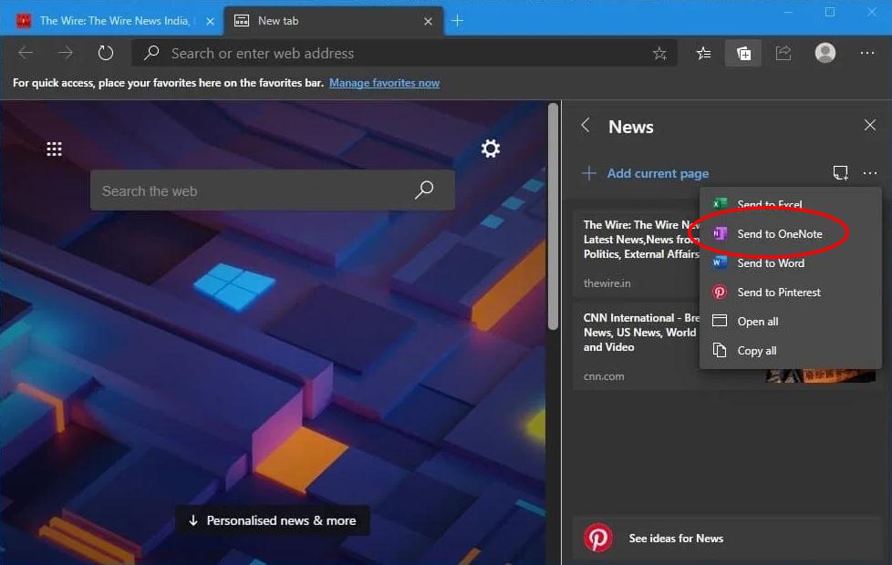 Integrazione di OneNote su Microsoft Edge