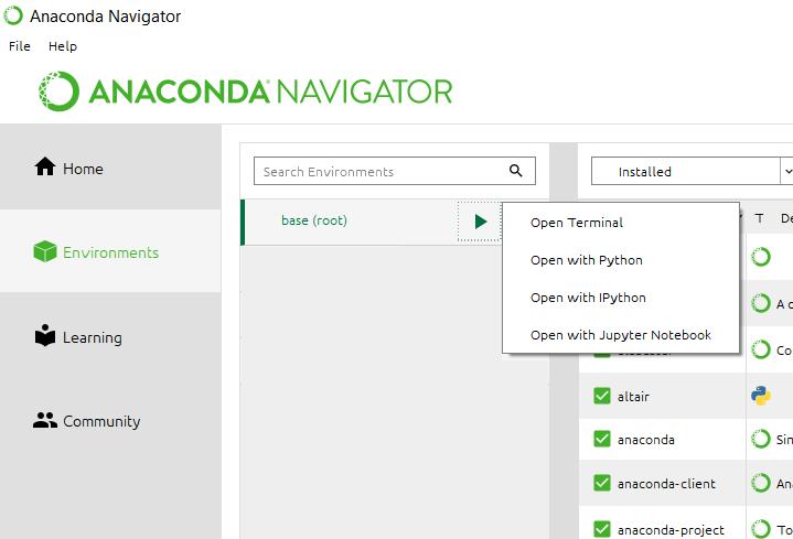 La sezione Environments del Navigator