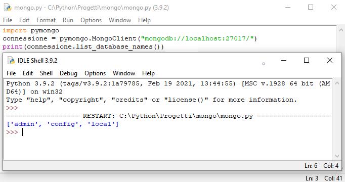 MongoDB: elenco dei database di default