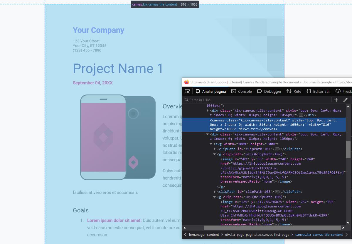 Ispezione del codice di Google Docs con Firefox: si nota l'elemento canvas