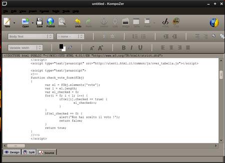 Editor HTML: Kompozer