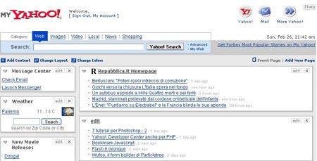 Screenshot: pagina di Yahoo!