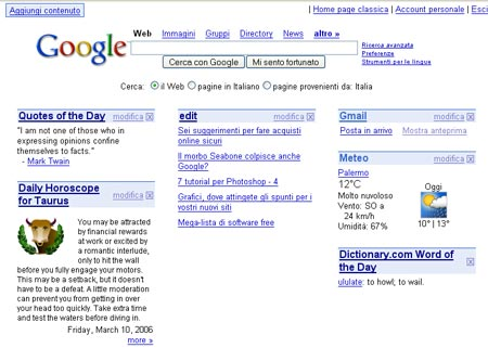 Screenshot: pagina di Google