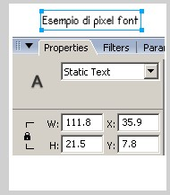Campo di testo con pixel font