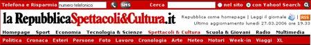 Screenshot: testata del sito Repubblica.it