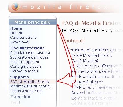 Screenshot: pagina delle FAQ del sito Mozilla Italia