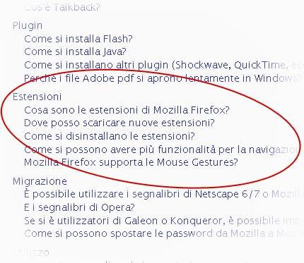 Screenshot: dettaglio dalla pagina delle FAQ del sito Mozilla Italia