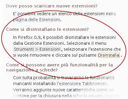 Screenshot: altro dettaglio dalla pagina delle FAQ del sito Mozilla Italia