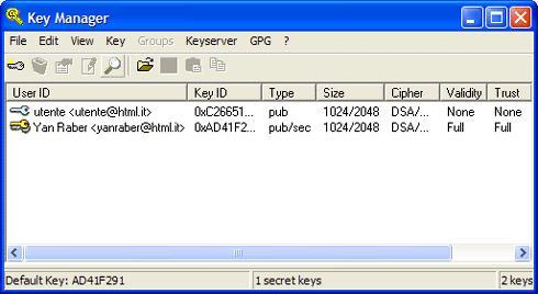 Importare una chiave in GnuGP