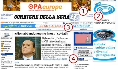 Screenshot: Home page del Corriere della Sera