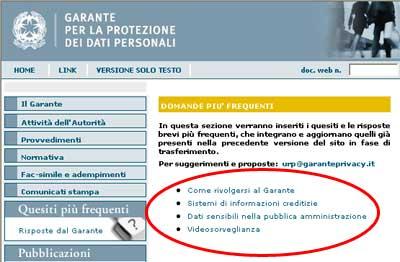 Una pagina del sito del Garante della Privacy