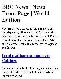 La pagina generata dal feed RSS