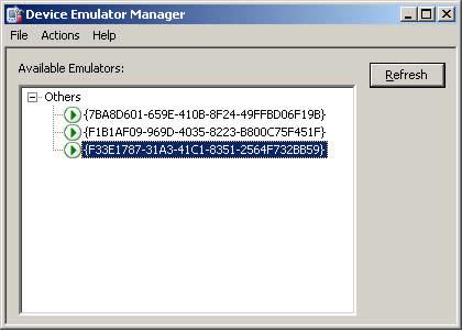 Interfaccia del Device Emulator Manager