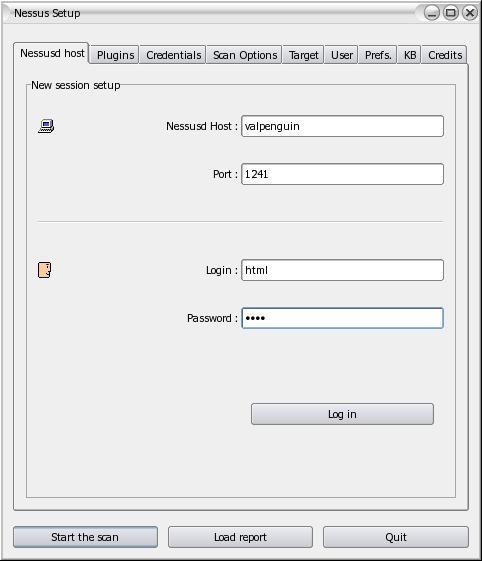 Utile e leggera la GUI di Nessus permette di effettuare il login e selezionare tutte le opzioni disponibili.
