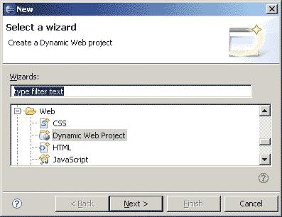 Selezionare Dynamic Web Project
