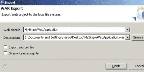 Esportare il war nel file system