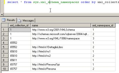 Query sulla tabella di sistema sys.xml_schema_namespaces