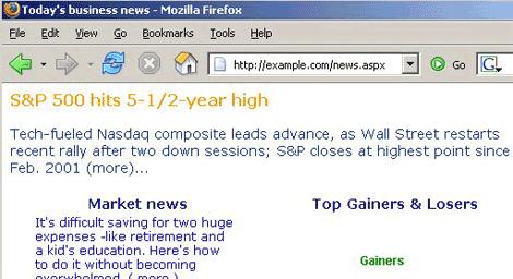una semplice pagina di un sito di notizie