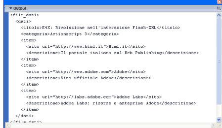 Struttura del documento XML nella finestra output