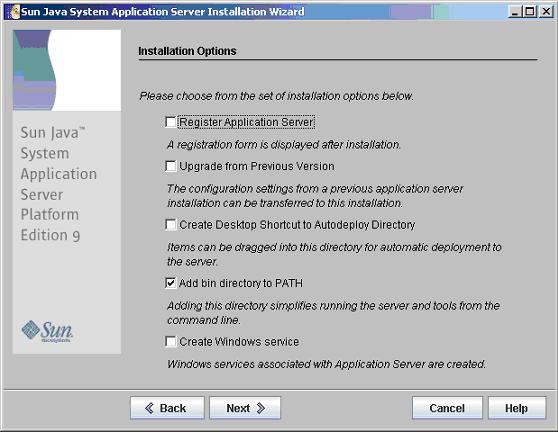 aggiunta della directory bin dell'Application Server al path di sistema