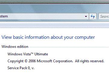 Schermata versione Windows Vista