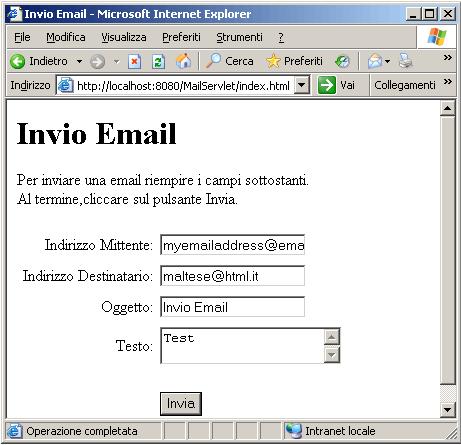 Form per invio email