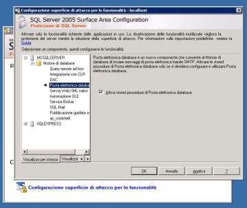 Abilitare Datababse Mail via SQL Server Surface Area Configuration