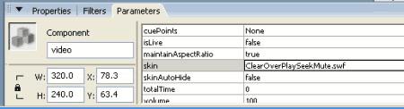 Parametri del componente FLVPlayback