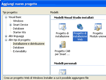 Creare un progetto di installazione