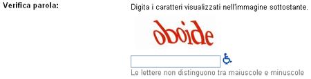 Un Captcha da Gmail.com