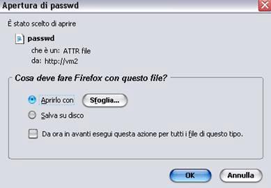 Salvataggio del file di password del sistema
