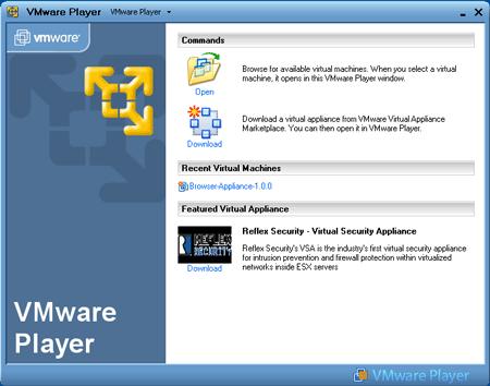 L'interfaccia di VMware Player