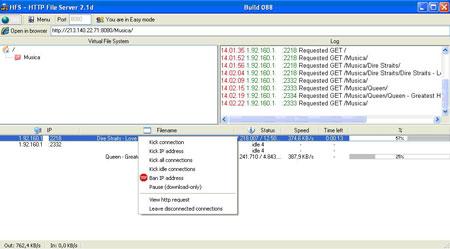 La schermata di HFS