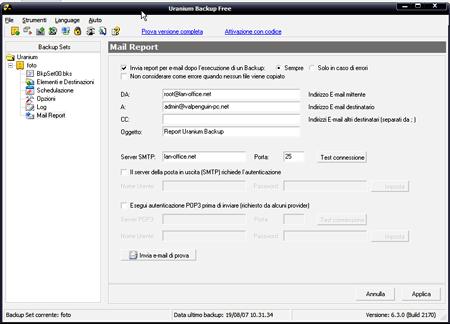 Configurazione per l'invio delle e-mail
