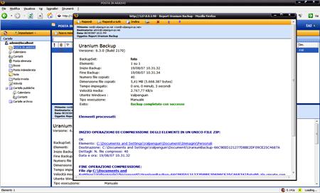 La e-mail con i dettagli del backup