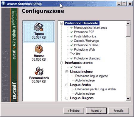 Configurazione di Avast