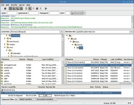L'interfaccia di FileZilla 3