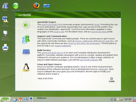 Il desktop della nuova openSUSE 10.3