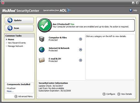 McAfee VirusScan Plus Aol